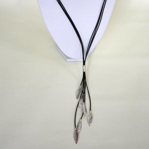 Silpada Layered Leaf Necklace Leather and Sterling